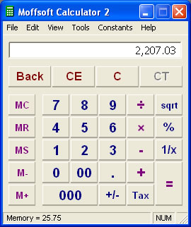 Our calculator software lets you turn the tape and toolbar off