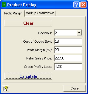 Calculate profit margin with our calculator software